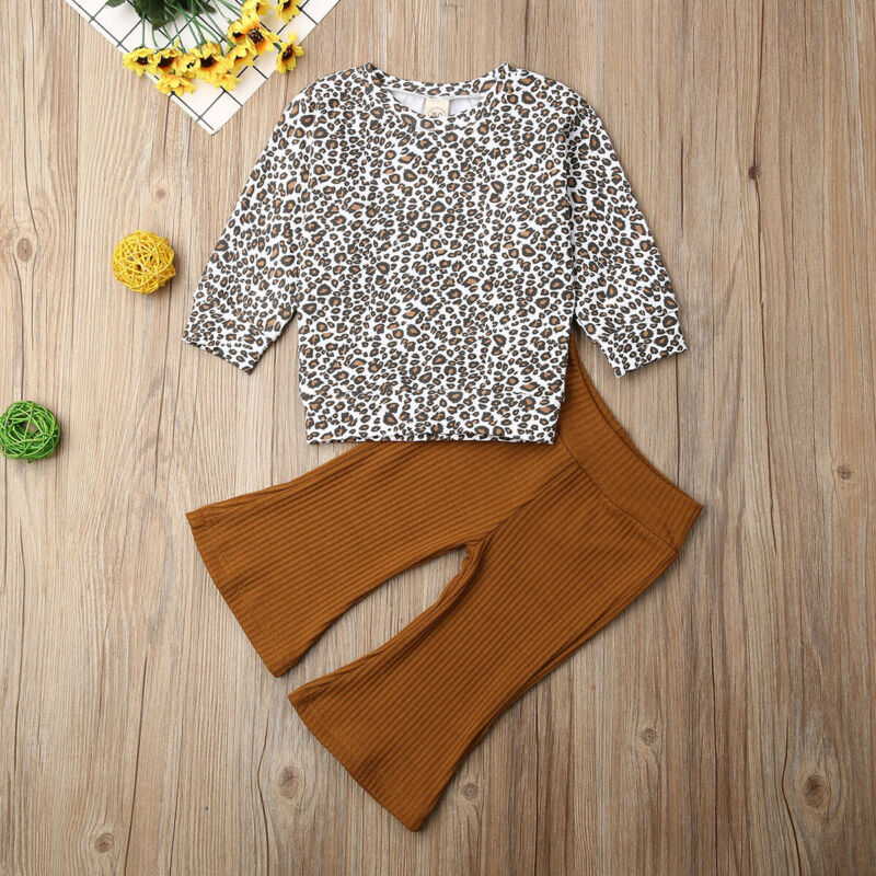 Long Sleeve Leopard Top With Knitted Flared Pants - SnazzyBabe