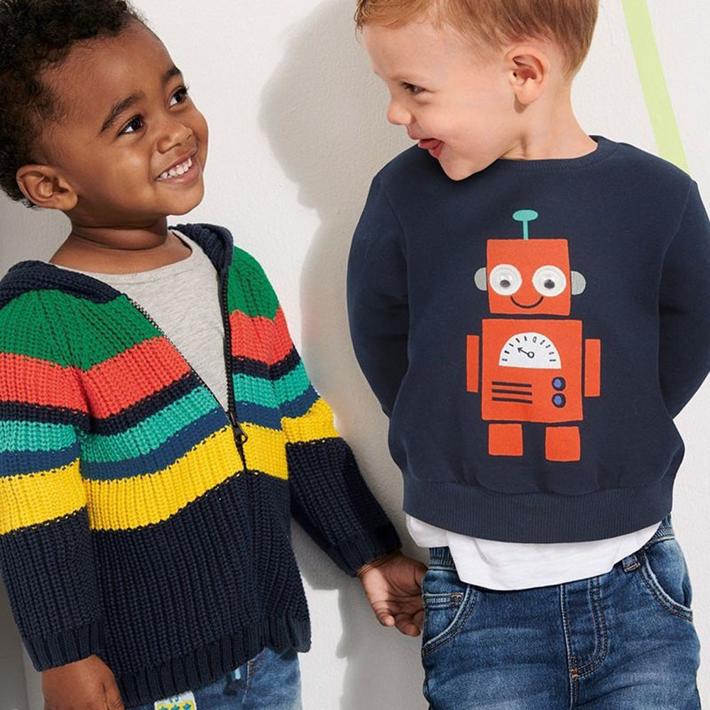 Cartoon Robot Print Pullover - SnazzyBabe