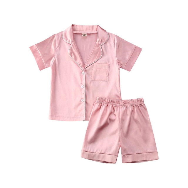 Adorable Silk Pajamas Short Sleeve Solid Shirt with Shorts - SnazzyBabe