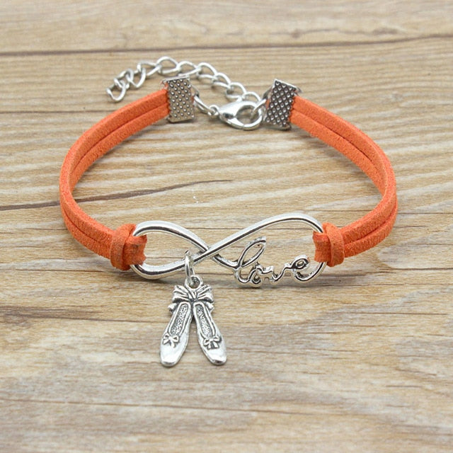 Infinity Love Dancer shoes Charm Suede Leather Adjustable Bracelet