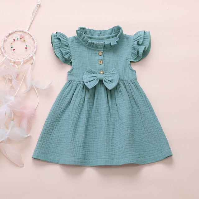 Adorable Cotton Short Sleeve Dress with Bow - SnazzyBabe