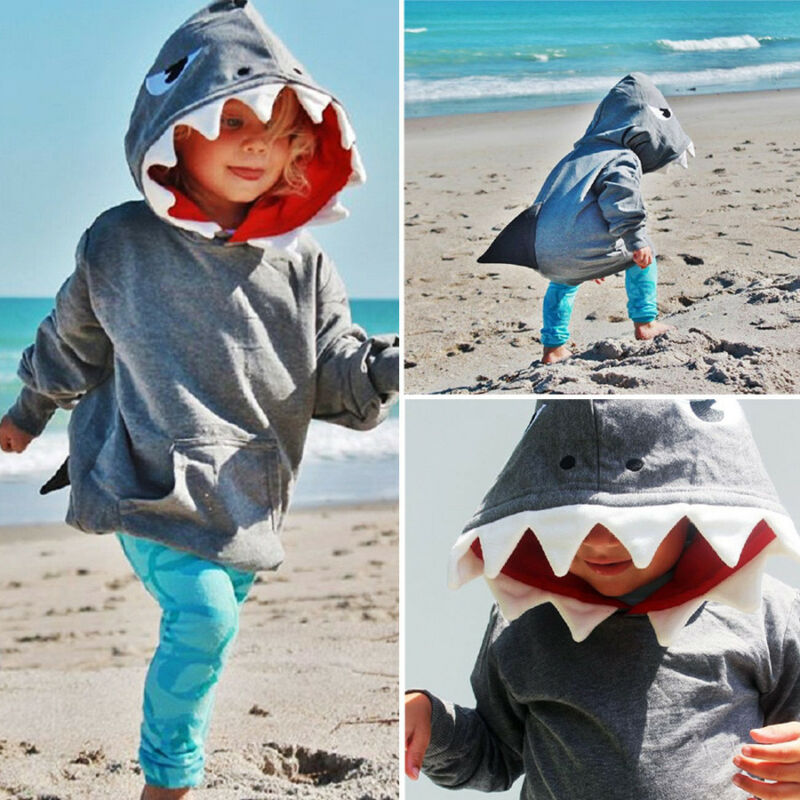 0-6 Years Shark Design Hoodie - SnazzyBabe