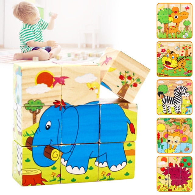 9Pcs/Set Kids Toy Wood Puzzle Wooden 3D Puzzle Jigsaw for Children Baby Cartoon Animal Pattern Puzzles Educational Toddler Toys - SnazzyBabe