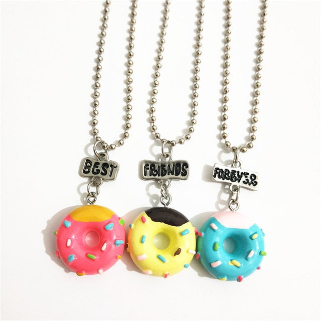 Cute 3 Pcs/lot BFF Doughnut Lollipop Necklace Set for Kids
