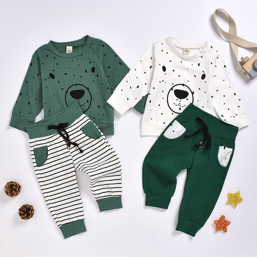 Adorable Cartoon Bear Sweatshirt with Pants - SnazzyBabe