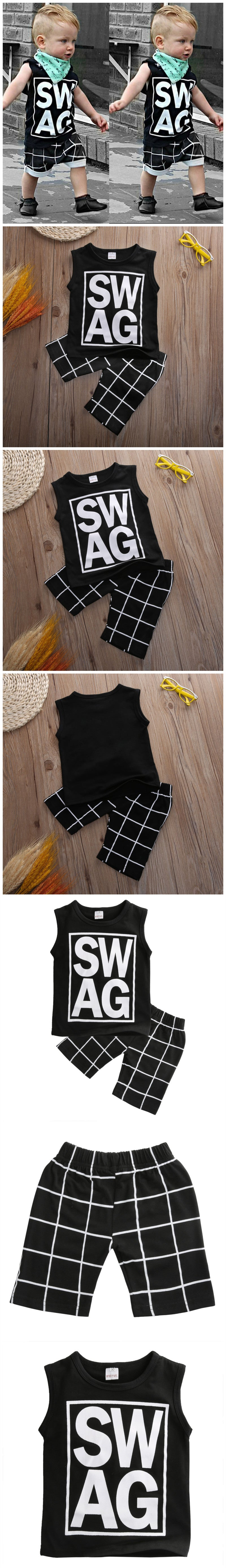 Cute 2pcs Cool Toddler Clothing Letter Printed T-shirt Tops+Casual Pants