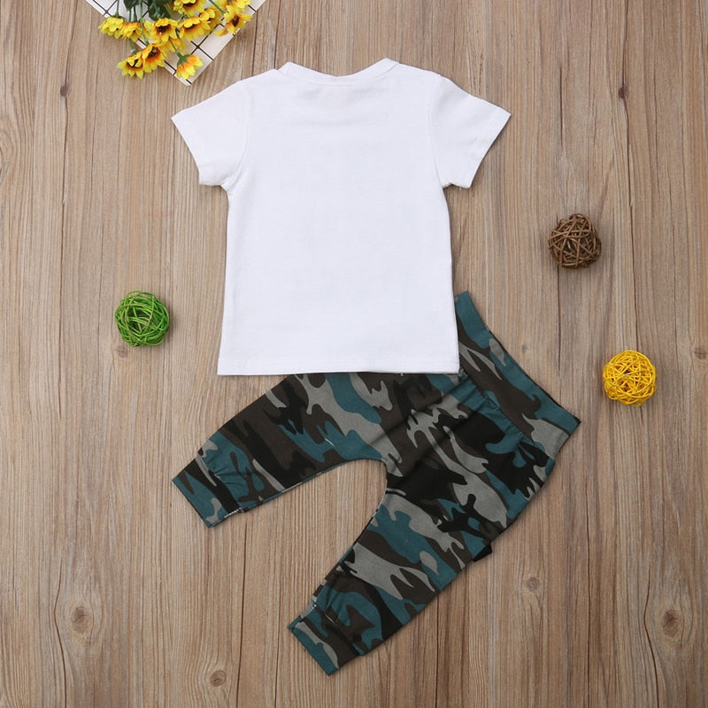 0-3 Years 2Pcs Toddler Baby Short Sleeve Letter Print T-shirt with Camo Pants