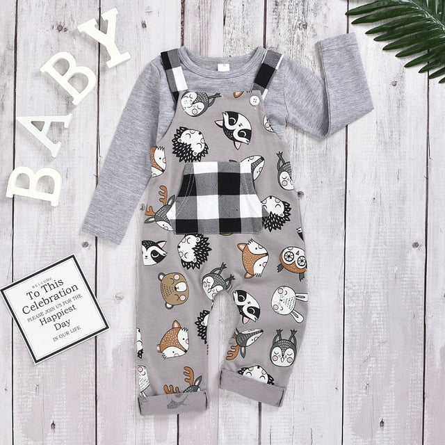 Cartoon Animal and Car Print Plaid Overalls with Solid Long Sleeve Shirt - SnazzyBabe