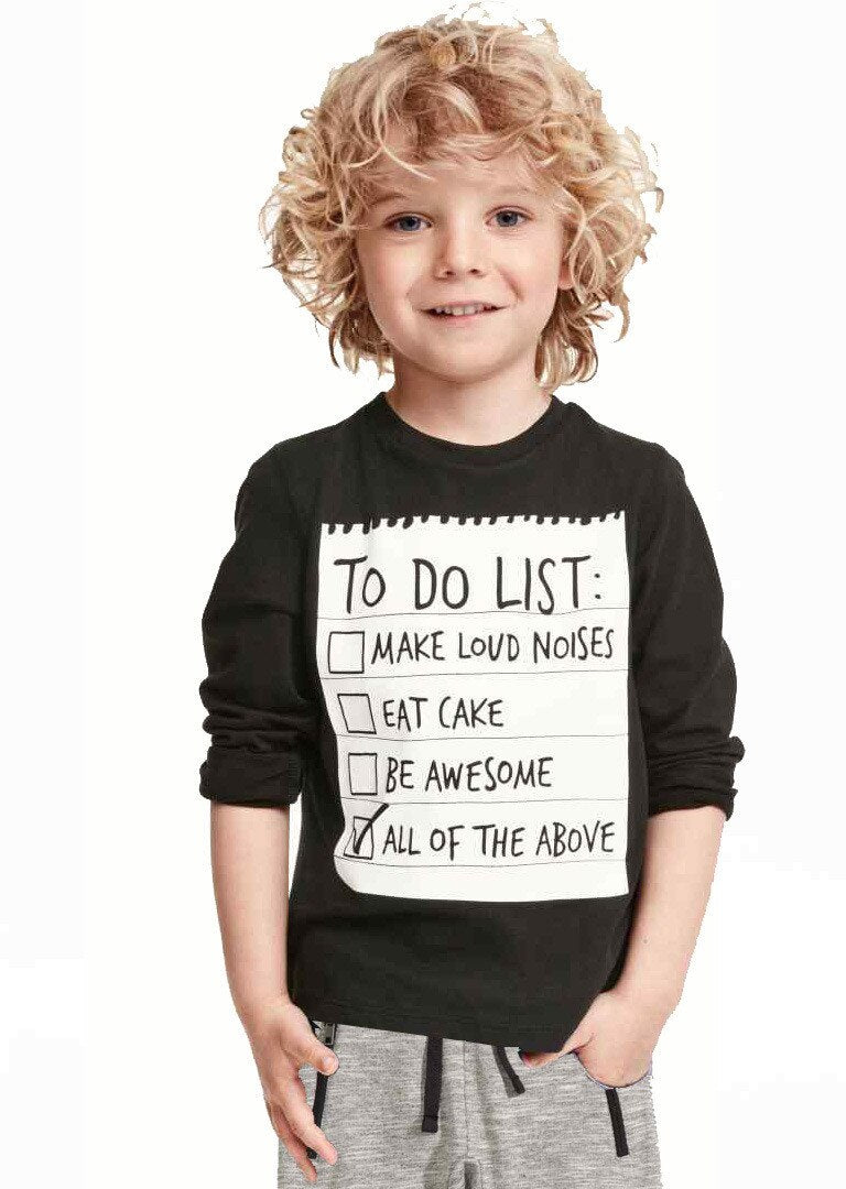To Do List Print Black Long Sleeve Shirt with Gray Casual Pants - SnazzyBabe