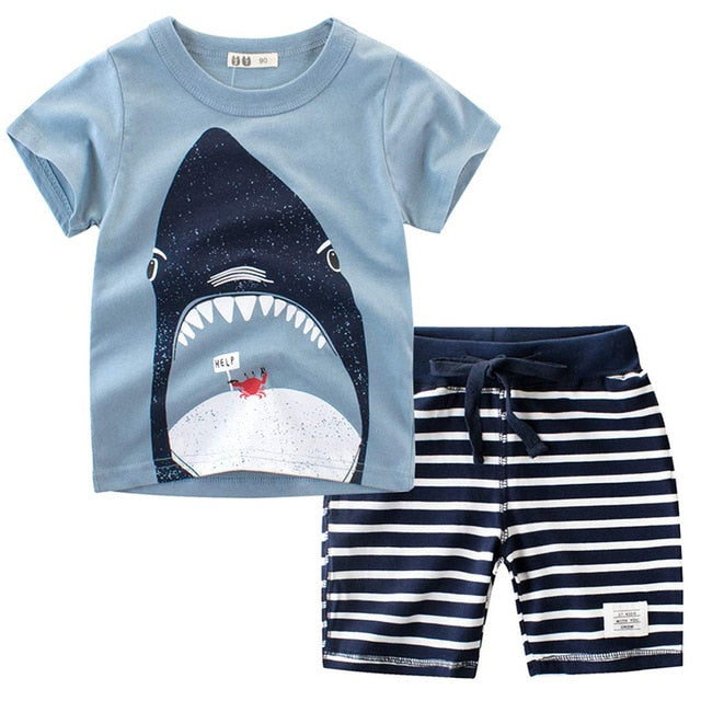 Cartoon Shark T-Shirt with Striped Shorts - SnazzyBabe