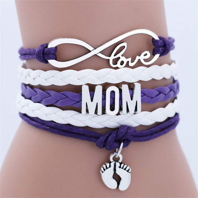 Infinity Love Mom Double Foot Chain Bracelet