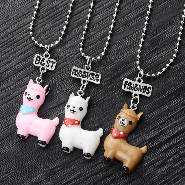 3 Pcs/lot BFF Narwhal Unicorn Llama Doughnut BFF Necklace Set