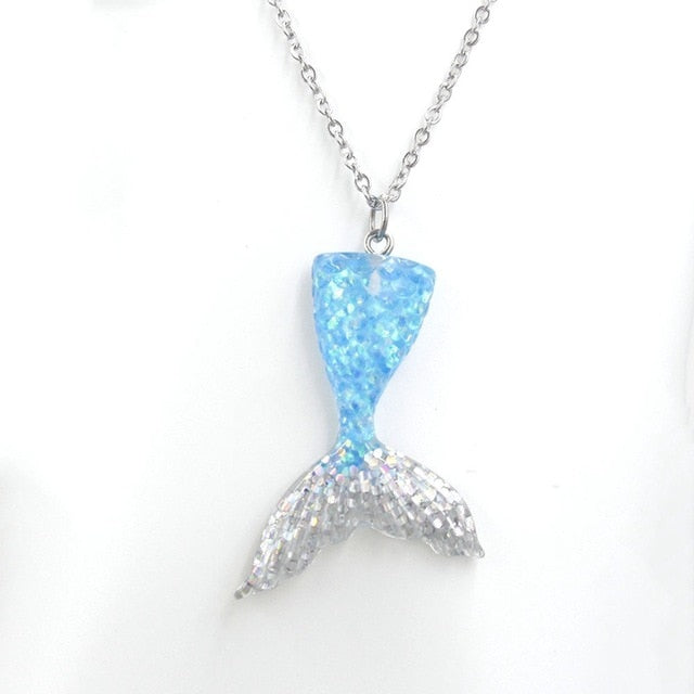Shining Mermaid Tail Pendant Necklace