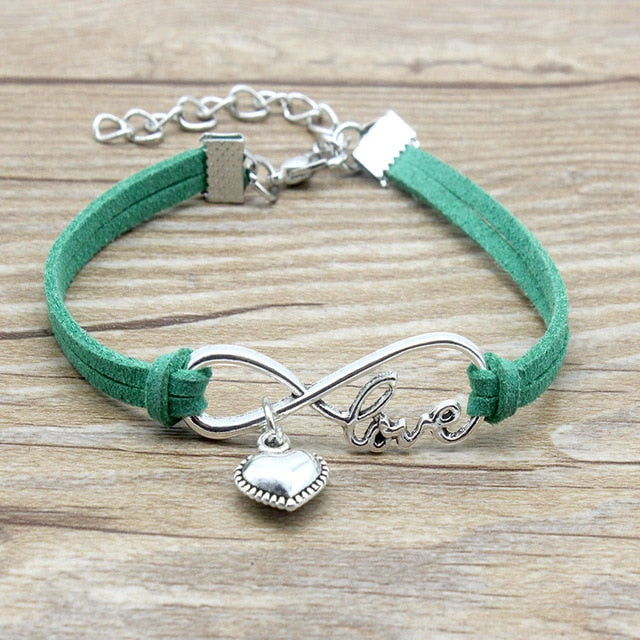 Infinity Love Heart Charm Suede Leather Adjustable Bracelet