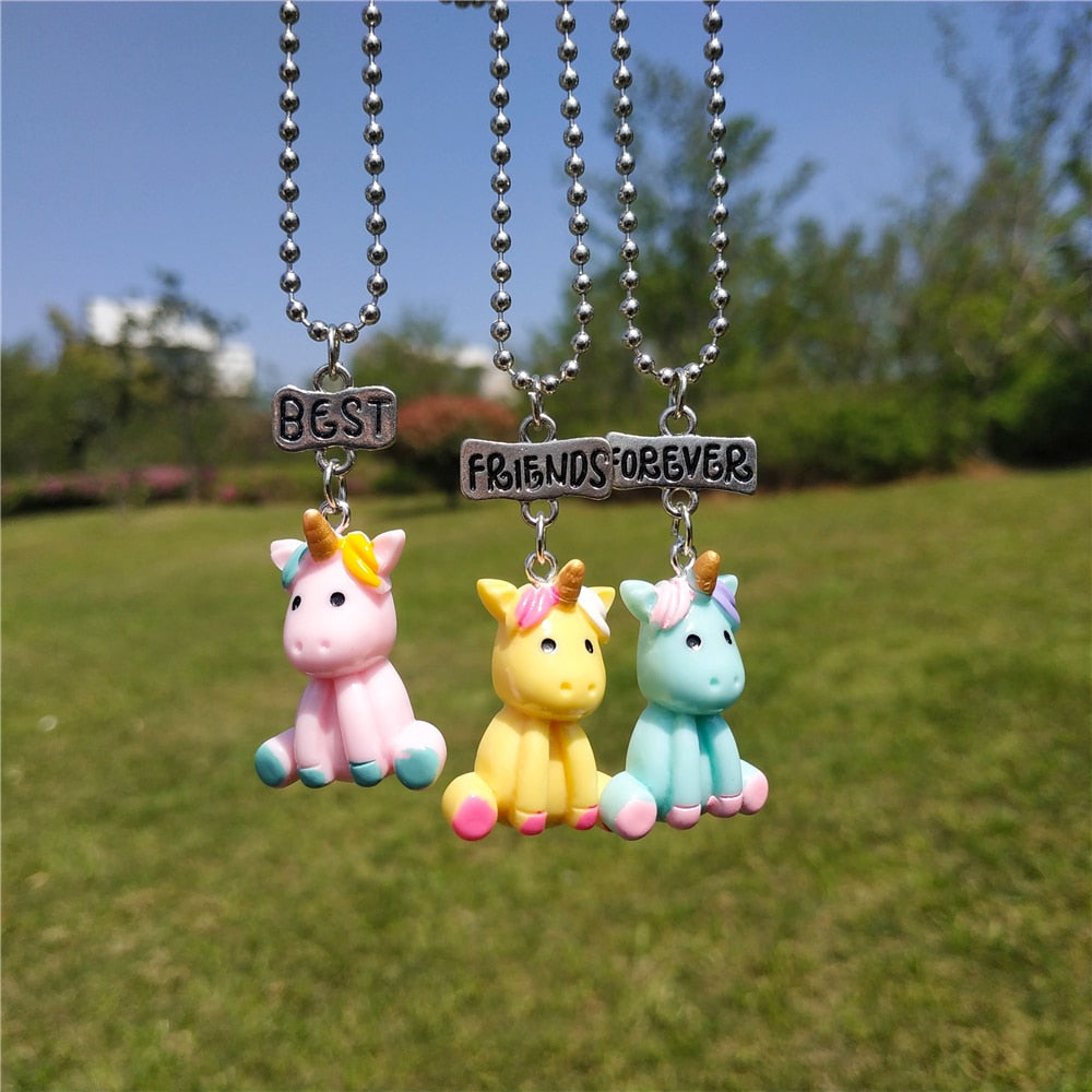 3 Pcs/lot Cute BFF Unicorn Alpaca Ice Cream Necklace Set for Kids