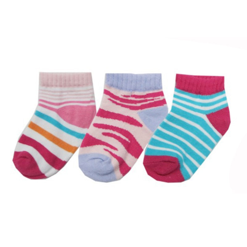 4Pairs/lot Baby Socks 0-24 Months Striped Cotton - SnazzyBabe