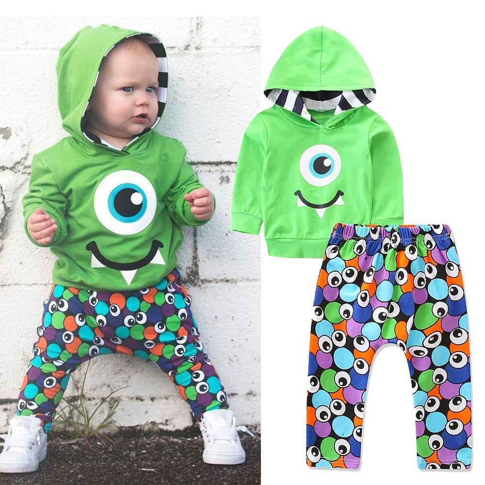 Monster Cartoon Hoodie with Matching Pants - SnazzyBabe