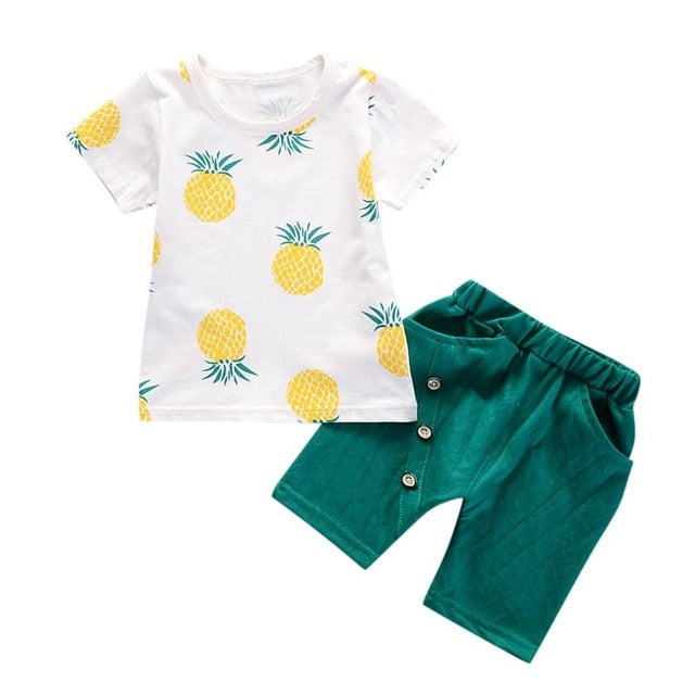 Printed Fruit T-Shirt + Shorts Children's Clothing - SnazzyBabe