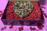 Load image into Gallery viewer, Billionare Heart Bar made with oatmeal shortbread cookie, caramel, pecans and chocolate
