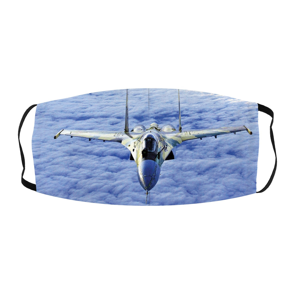 ASTI face Mask Fighter Jet Blue Clouds