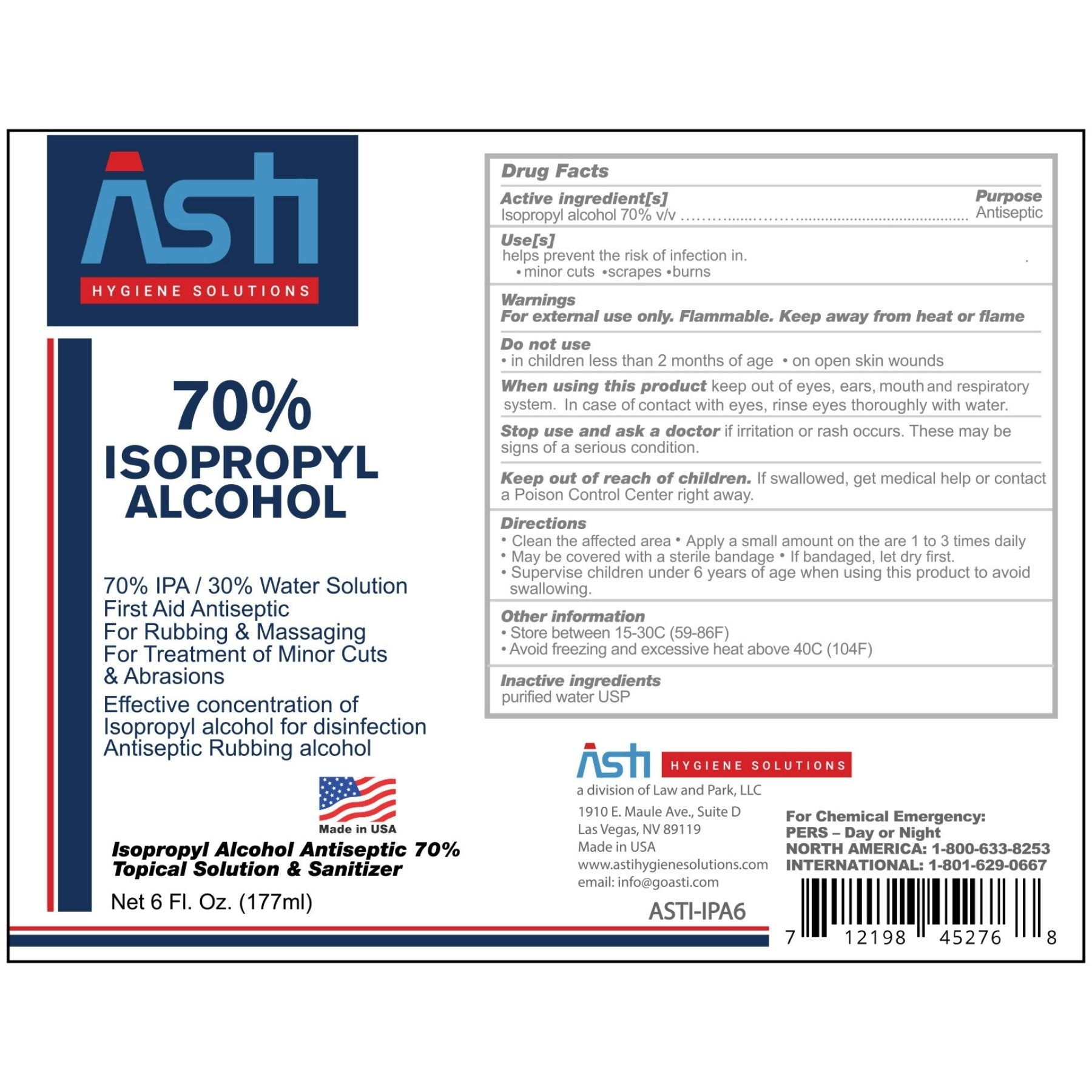 ASTI Sanitizing Liquid 70% Isopropyl Alcohol (6 OZ)