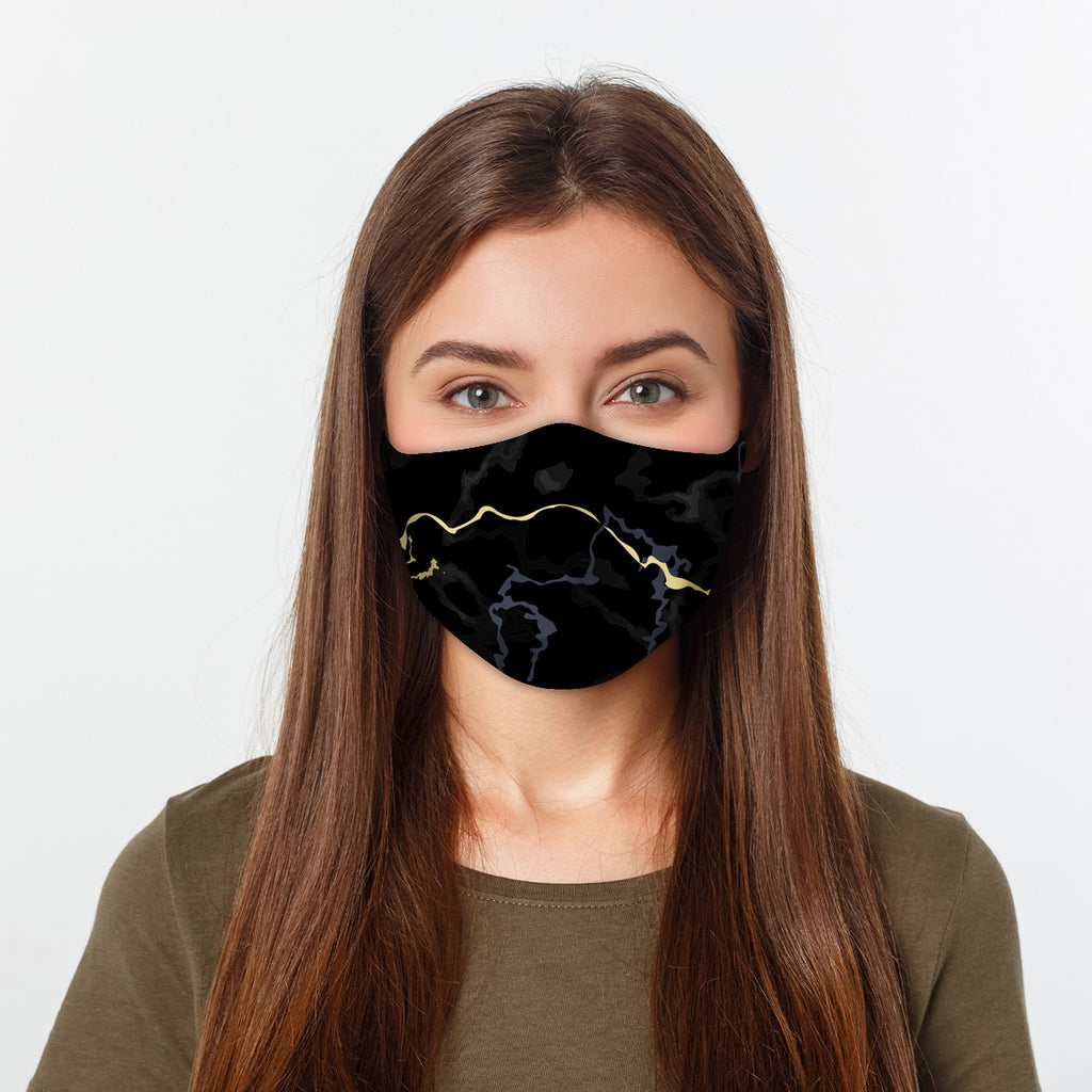 ASTI Face Mask Black & Gold Marble Cloth Face Mask