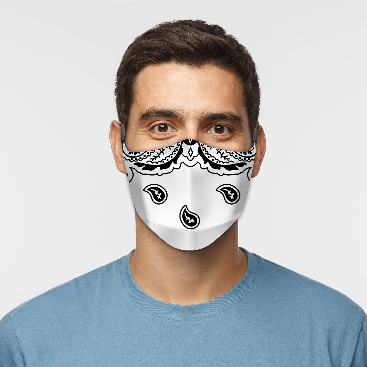 ASTI Face Mask White Paisley Cloth Face Mask