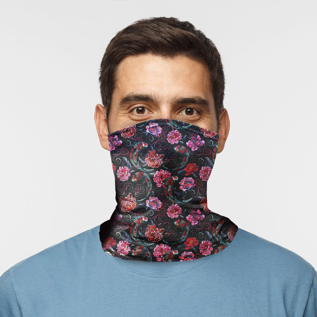 ASTI Neck Gaiter Koi Fish And Flowers Man