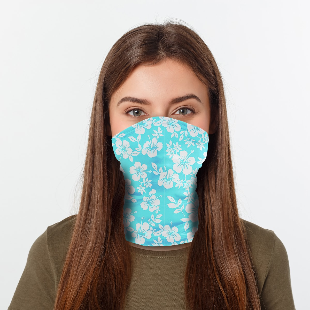 ASTI Neck Gaiter Ocean Blue Hawaiian Print Woman