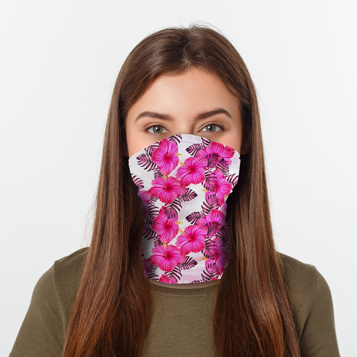 ASTI Neck Gaiter Pink Hawaiian Hibiscus Woman