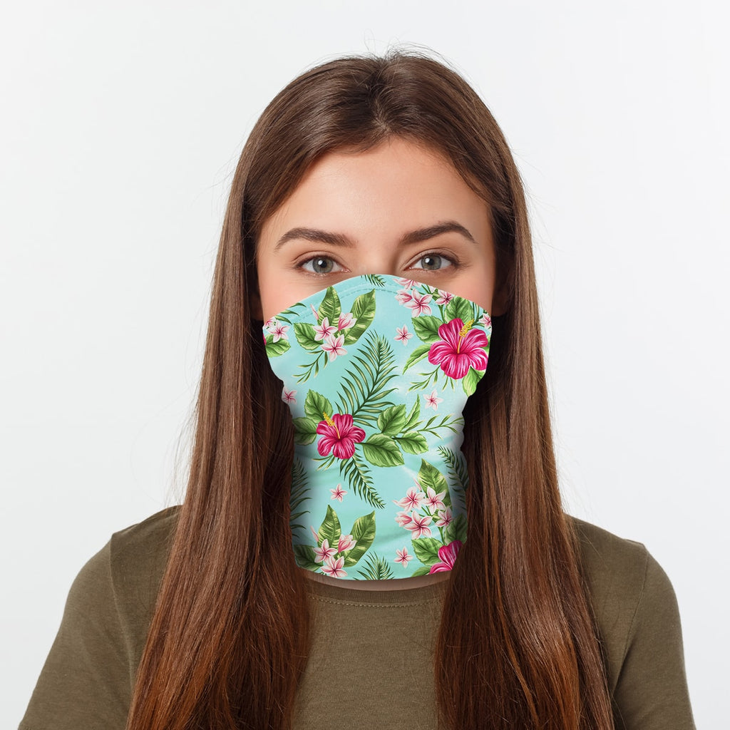 ASTI Neck Gaiter Tropical Hawaiian Print Woman