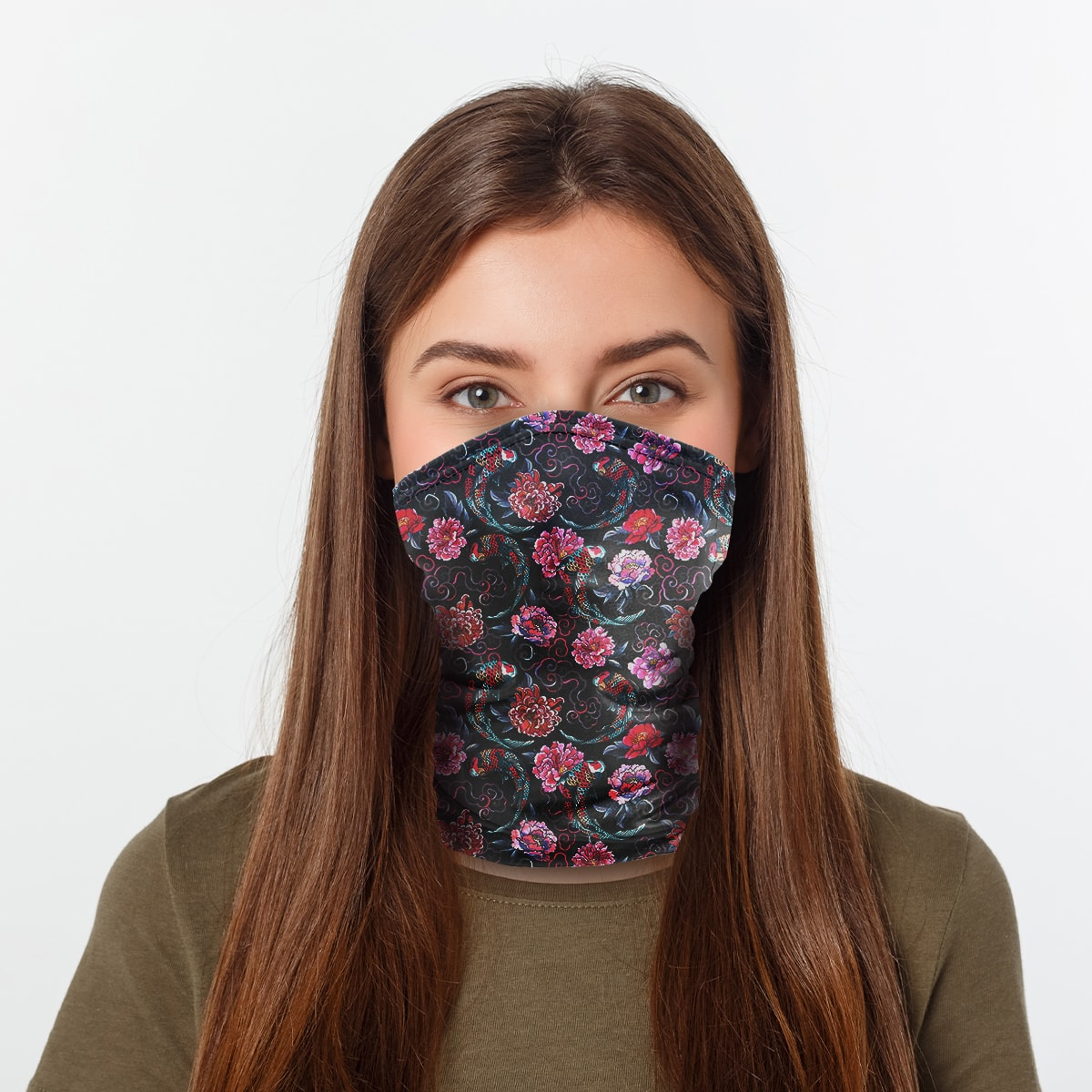 ASTI Neck Gaiter Koi Fish And Flowers Woman
