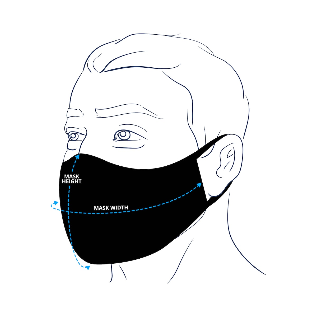 Dark Blue Flannel Cloth Face Mask