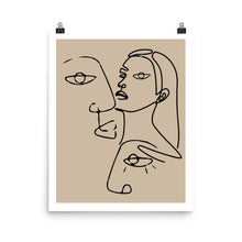 Load image into Gallery viewer, Beige line art faces poster