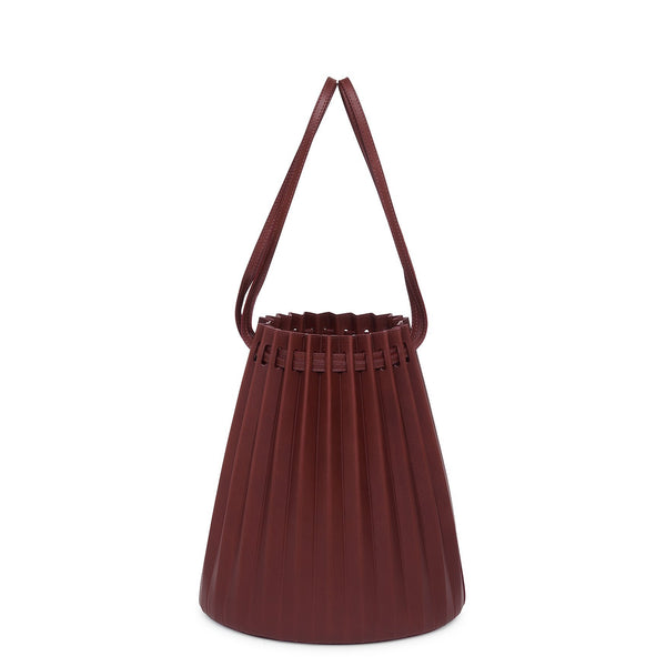 bd1d8f642be7 Vegetable Tanned Pleated Bucket Bag - Bordo
