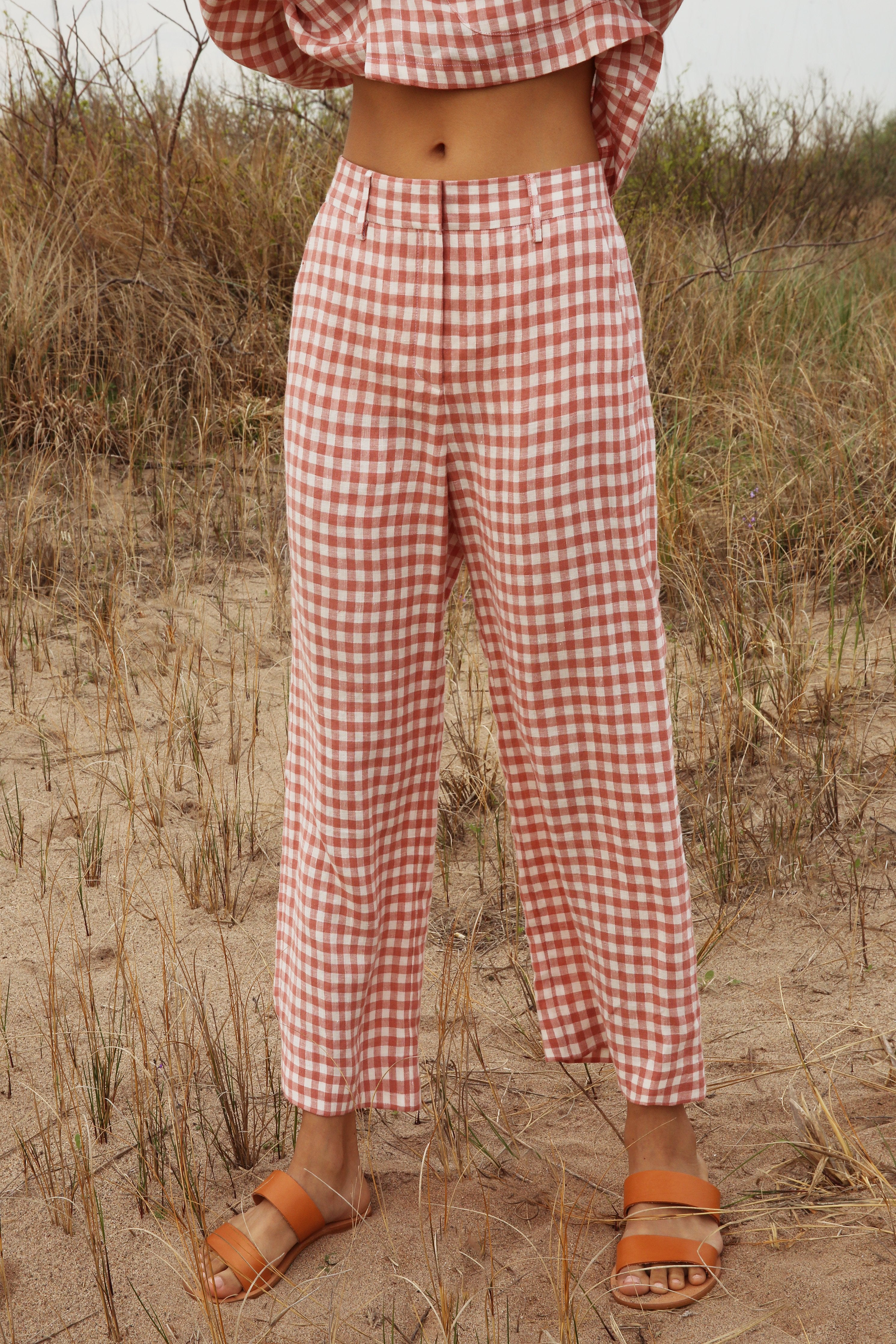Mansur Gavriel Gingham Linen Straight Pant In Blush