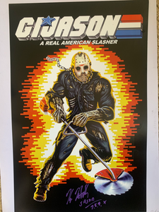 "Friday The 13th Kane Hodder signed ""GI JASON"" 11x17"