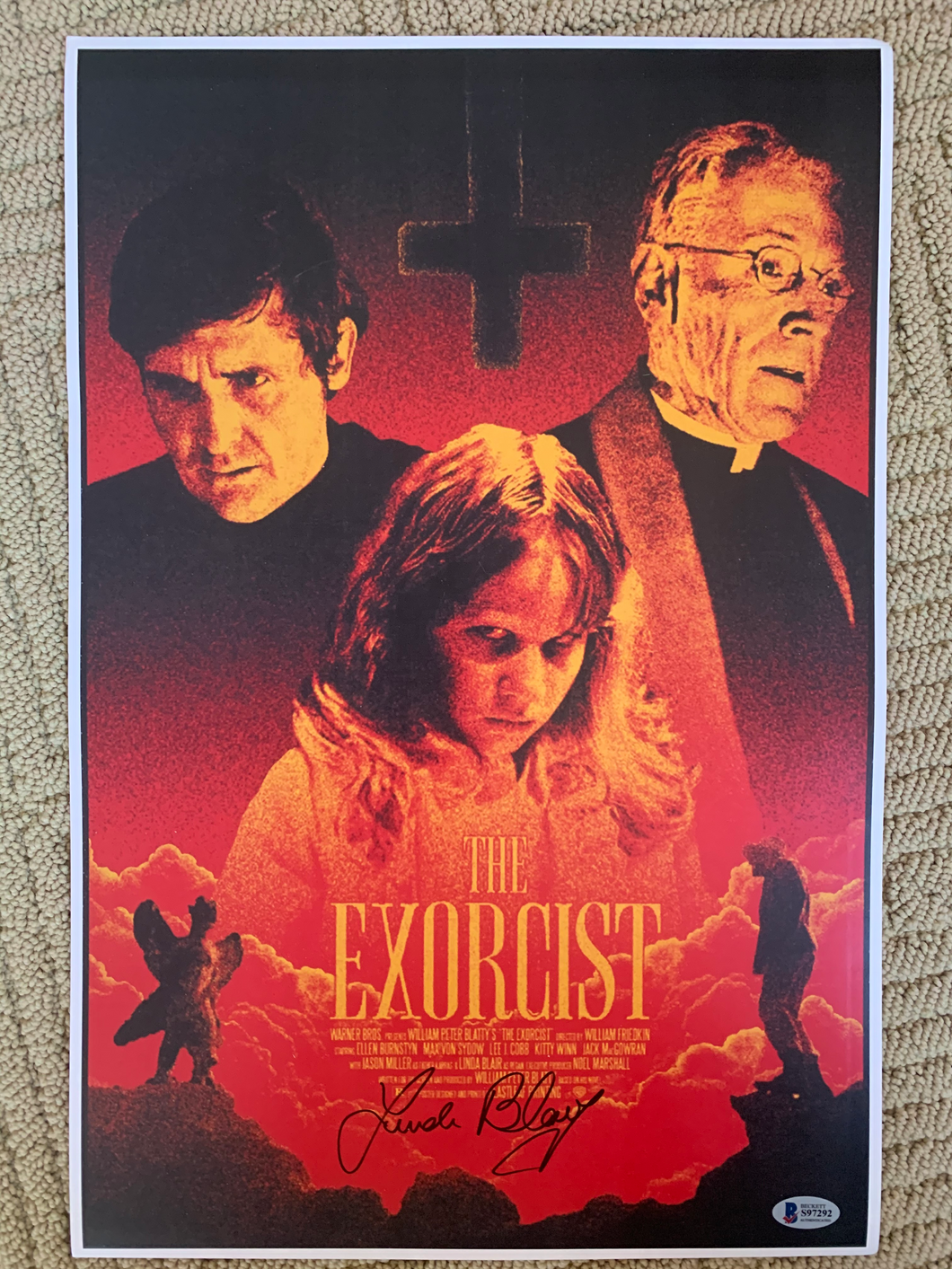 Exorcist Linda Blair signed 11x17 poster with Beckett COA