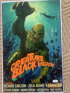 RICOU BROWNING Signed Creature from the Black Lagoon 11x17 poster JSA COA