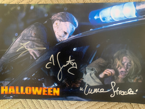 Halloween Scout Taylor Compton Tyler Mane signed 11x17 poster JSA COA