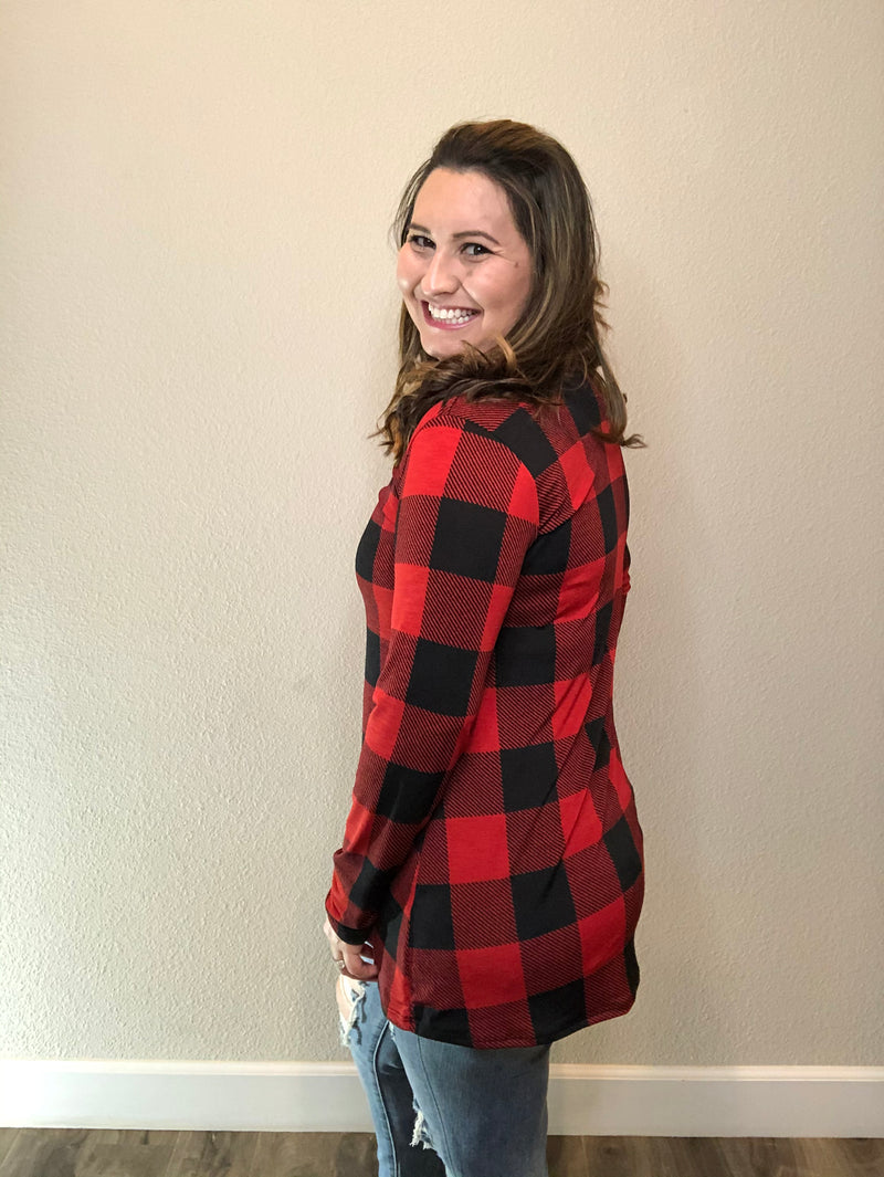 """Mad For Plaid"" (Black & Red) Long Sleeve V-Neck-Lola Monroe Boutique"
