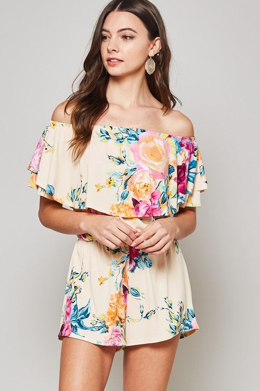Romance in Roses Off The Shoulder Shorts Romper-Lola Monroe Boutique