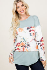Stop & Smell the Roses Long Sleeve Tunic (Sage)-Lola Monroe Boutique