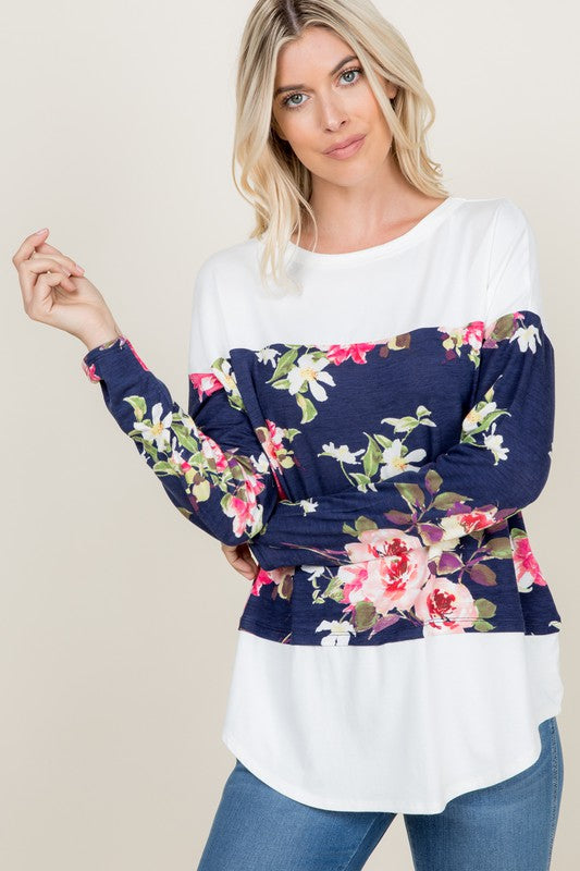 Stop & Smell the Roses Long Sleeve Tunic (Navy)-Lola Monroe Boutique