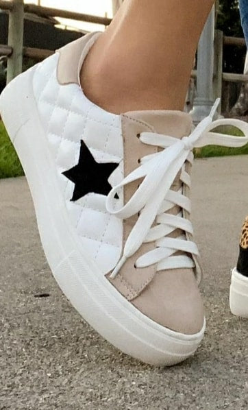 Quilted Star Lace up Sneakers-Lola Monroe Boutique