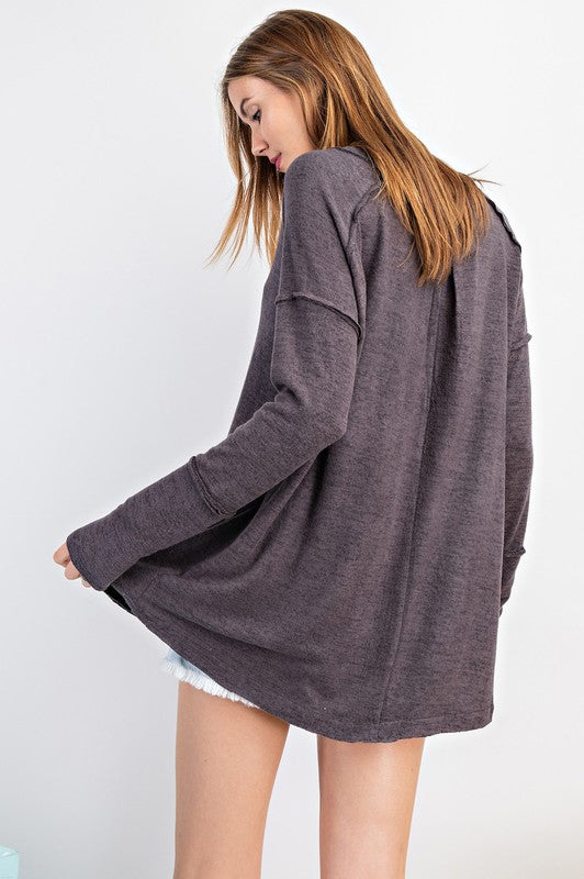 """Cozy Up"" Long Sleeve Tunic/Top (Charcoal)-Lola Monroe Boutique"