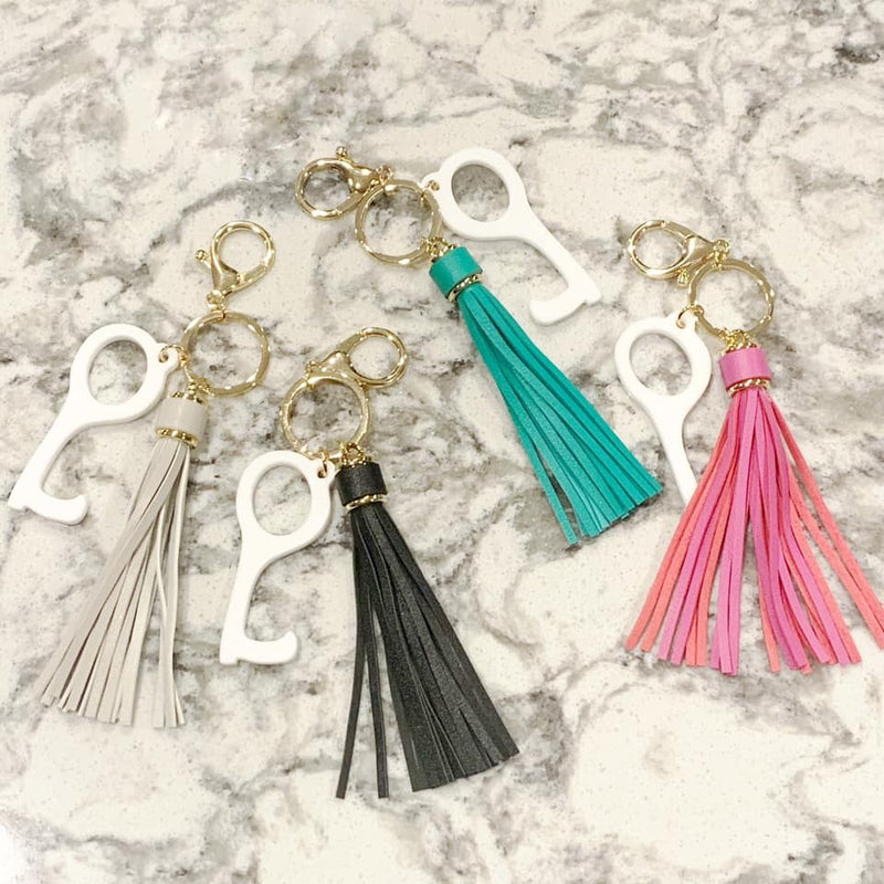 No Touch Tassle Keychain (Multiple Colors)-Lola Monroe Boutique