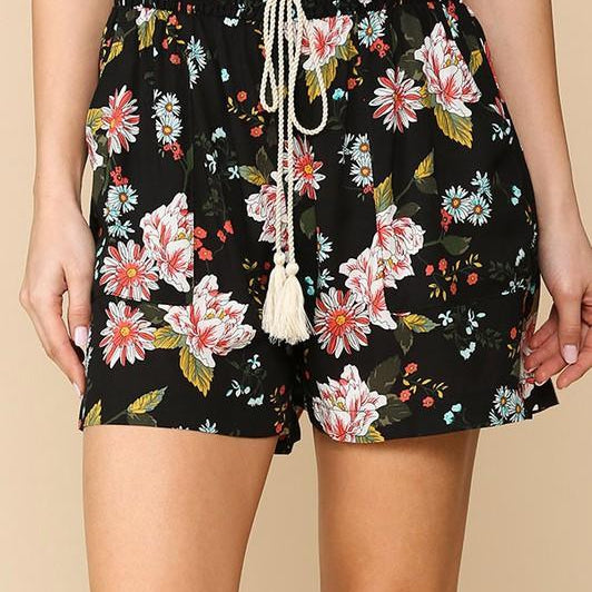 Floral Printed Smocked Waist Shorts-Lola Monroe Boutique