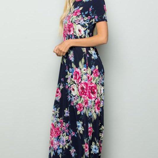 Floral Maxi Dress with Pockets-Lola Monroe Boutique