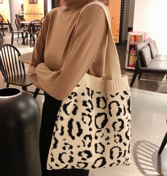 Animal Print Knit Totes (Multiple Colors)-Lola Monroe Boutique